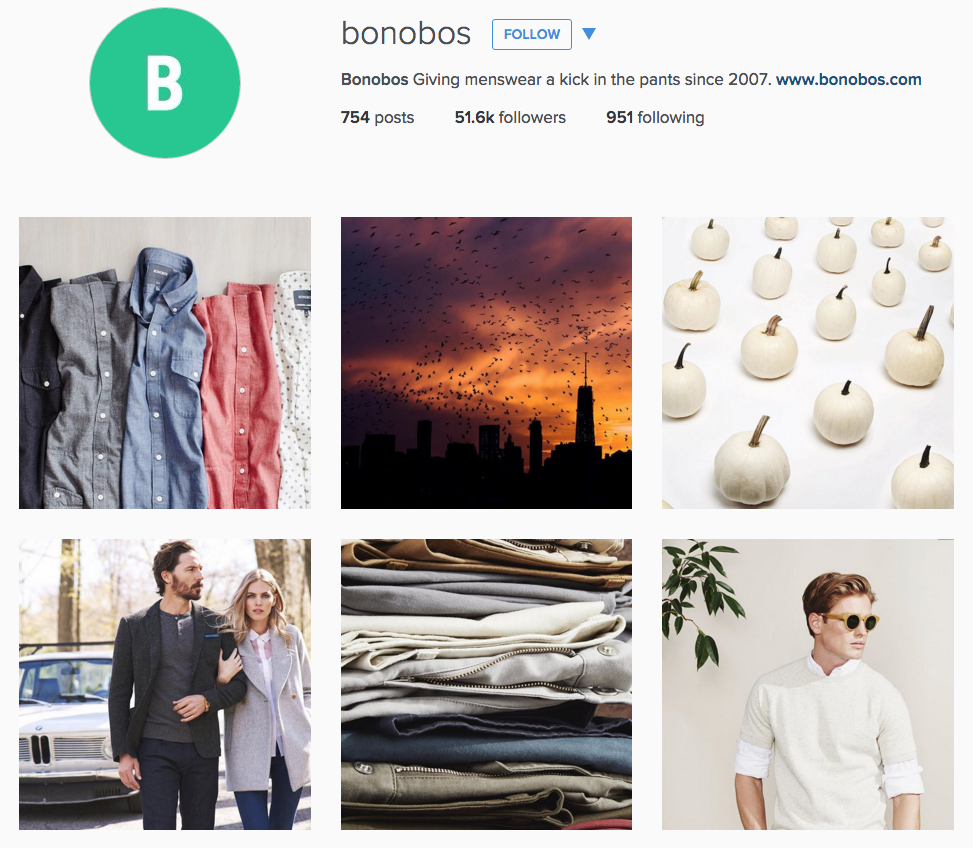 Instagram for Inbound Marketing. This example from Bonobos shows they know when - and when not - to use filters.