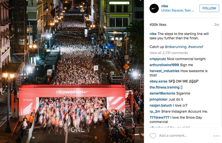 Instagram for Inbound Marketing, Nike example