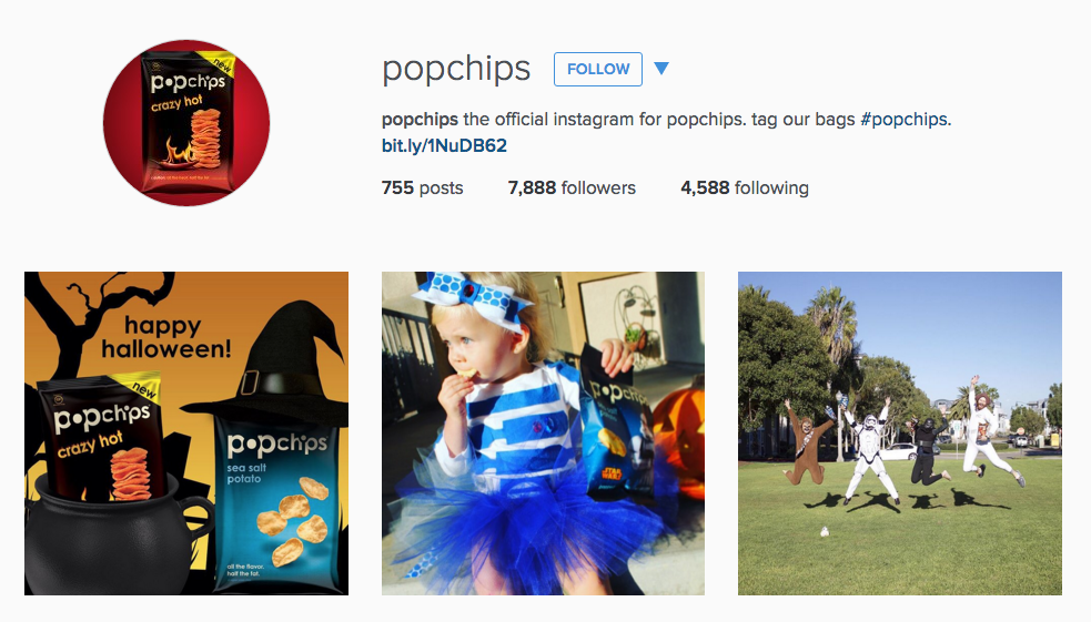 Instagram for Inbound Marketing; popchips has a good bio example