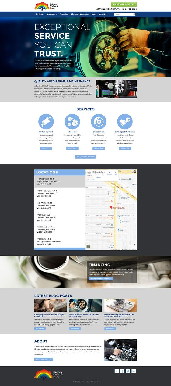 Rainbow Muffler & Brake home page — after