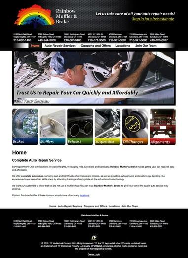 Rainbow Muffler & Brake website — before
