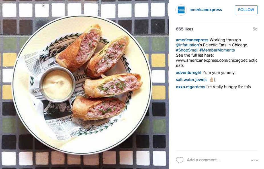 Instagram for Inbound Marketing, this American Express example shows how to effectively tag others in the industry.