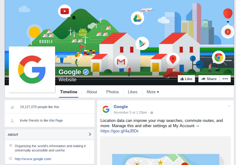 Google's Facebook Page focuses on company updates over the brand.