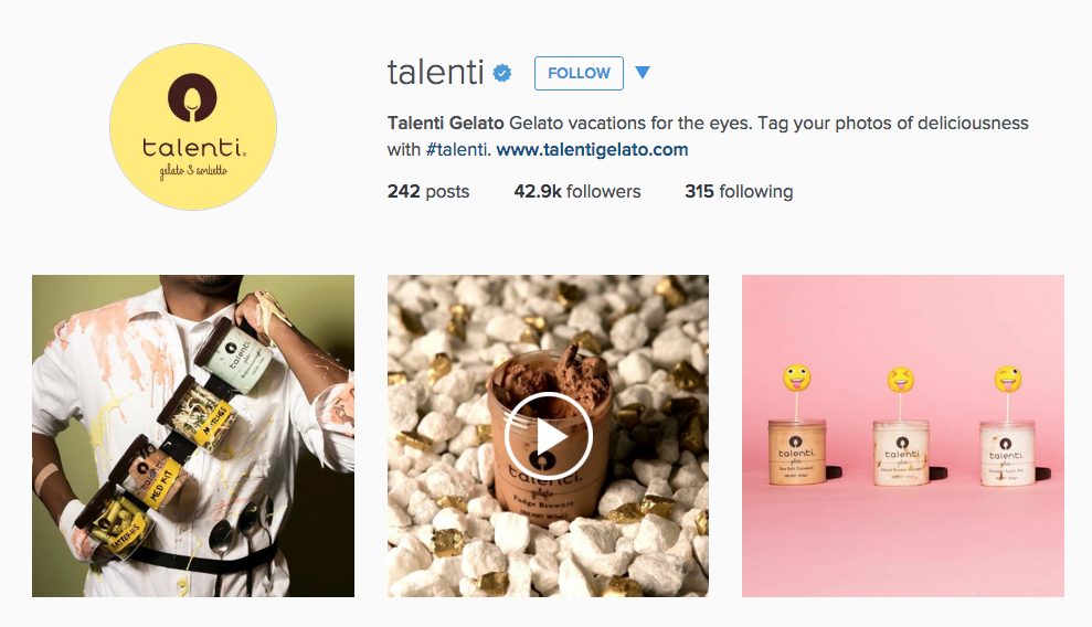 Instagram for Inbound Marketing: Talenti's bio is a great example!