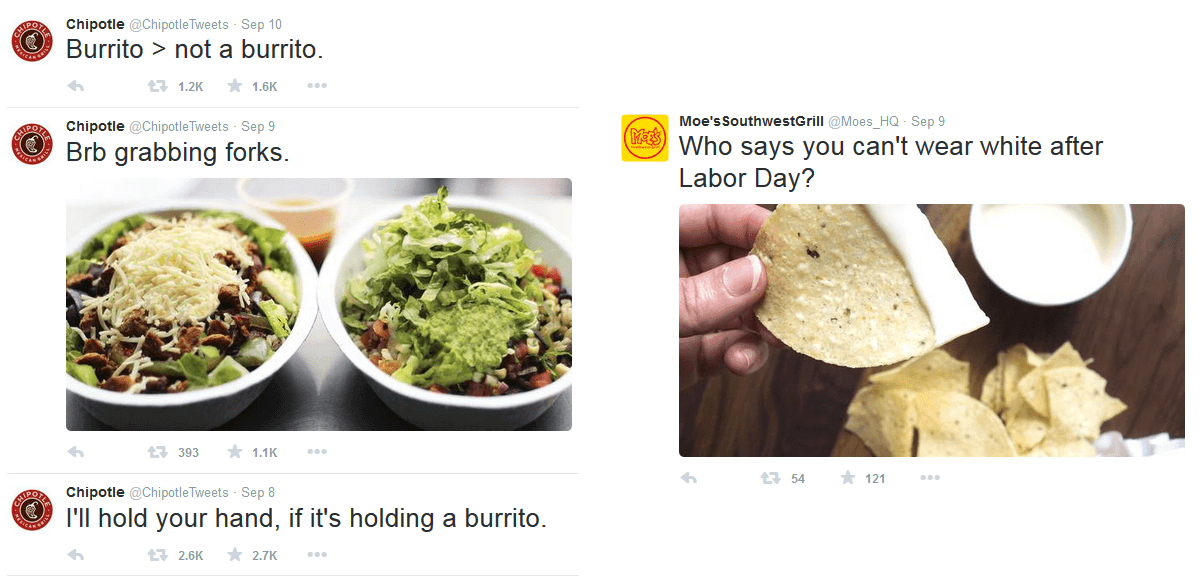 Chipotle tweets VS Moe's Southwest Grill tweets