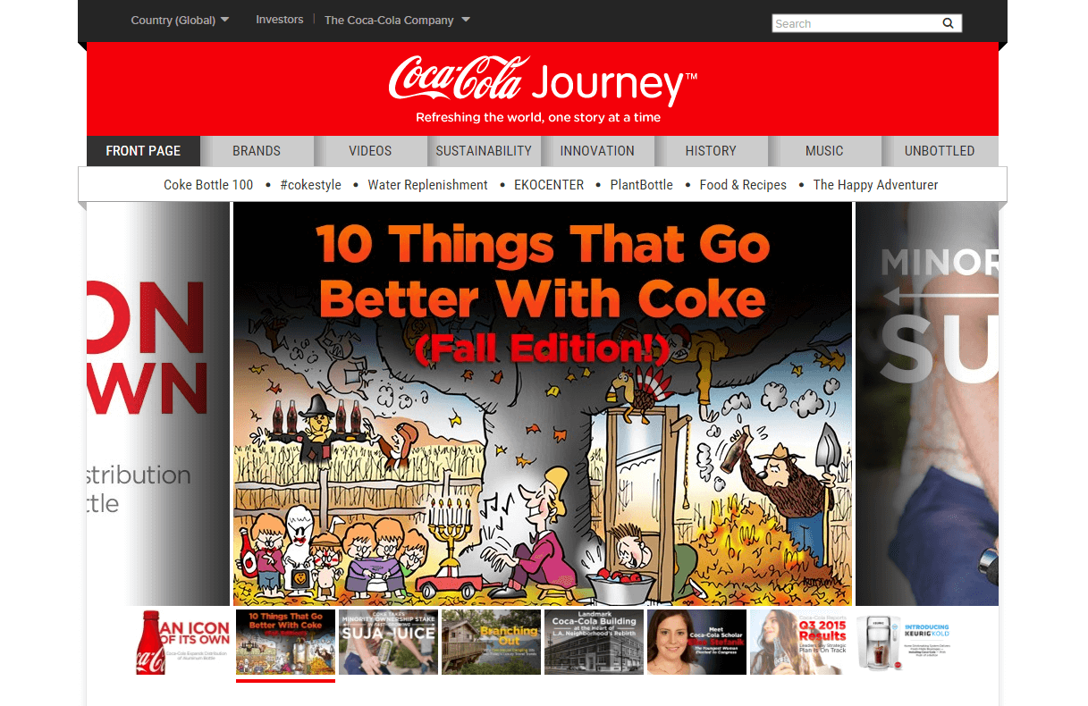 Coca-Cola Journey is a prime example of global content marketing.