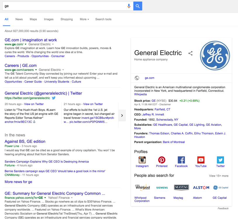 """Example of a company with """"full SERP real estate coverage"""" on Google."""
