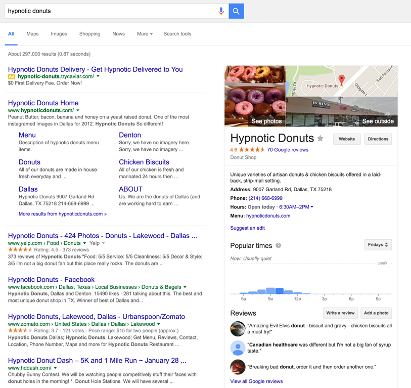 Example of how a Local Google+ page appears on Google's search results.