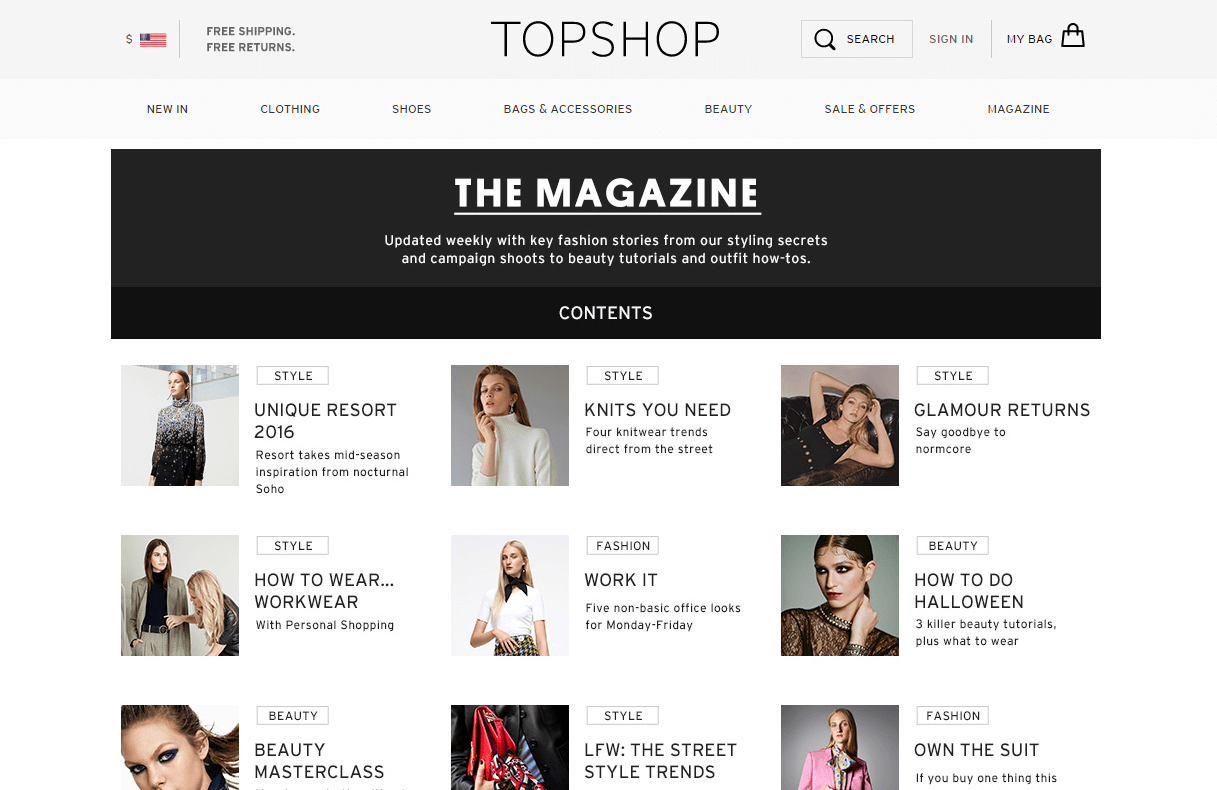 Topshop Magazine features fashion spreads and beauty how-tos
