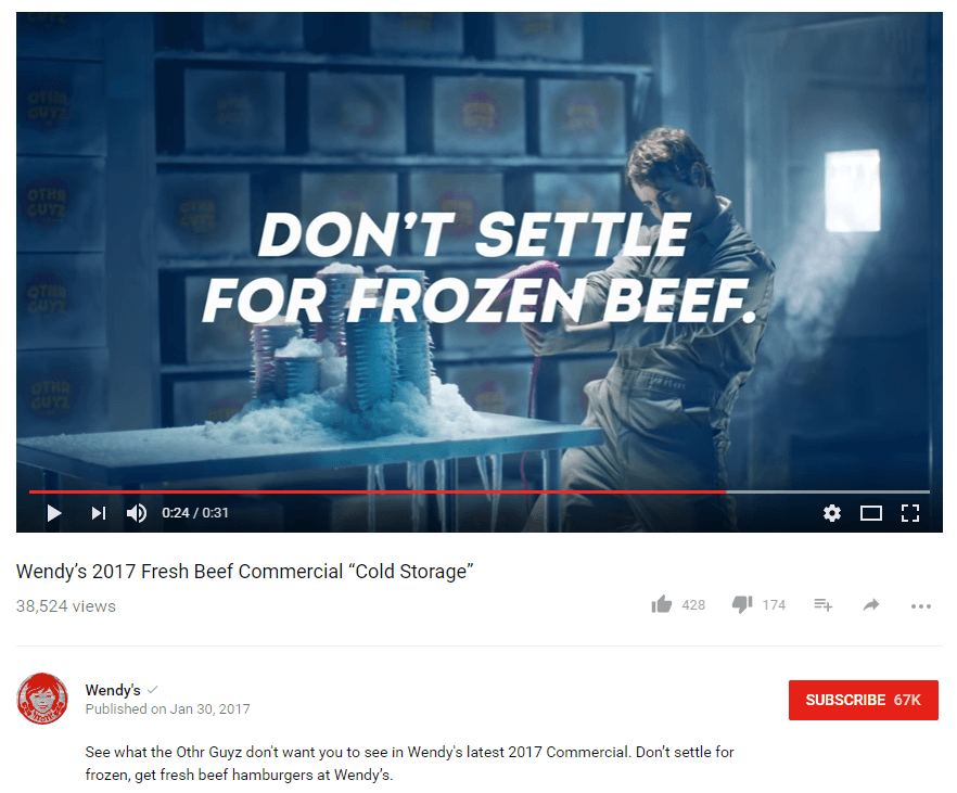 Wendy's 2017 Video Ad...that people willingly watch on YouTube