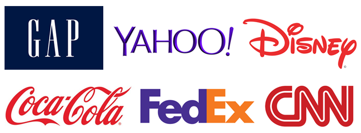 Examples of a variety of type styles for logos.