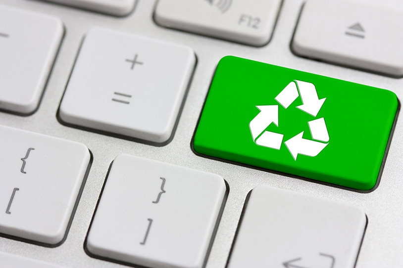 Repurpose content: a recycle icon on a keyboard