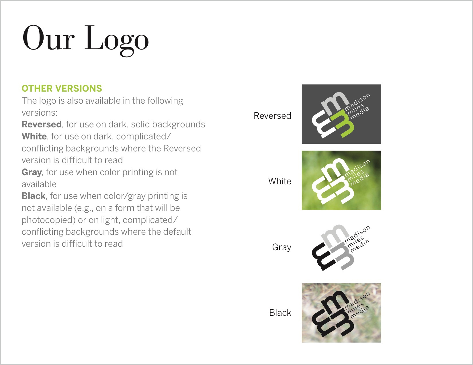 Defining how the brand logo can be displayed.