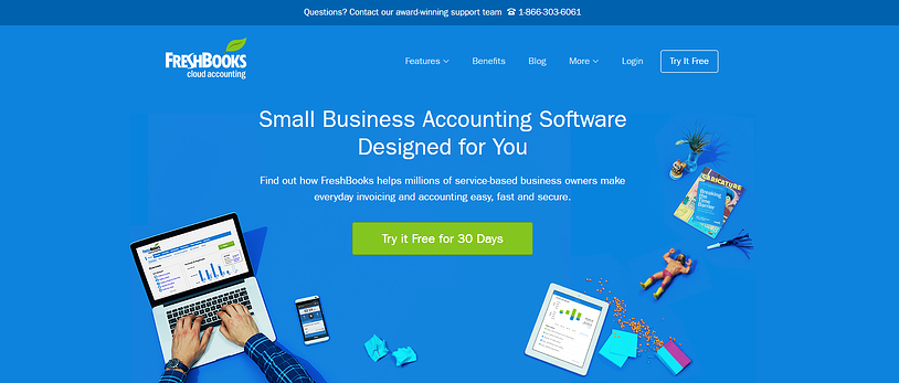 website example with a call-to-action on the homepage (FreshBooks).