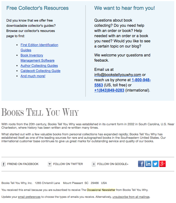 Books Tell You Why email newsletter example