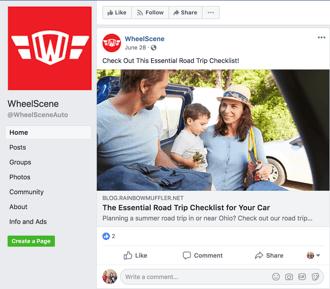 wheelscene facebook content promotion