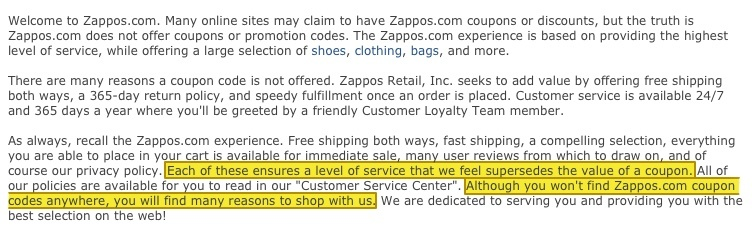 Zappo's coupon policy