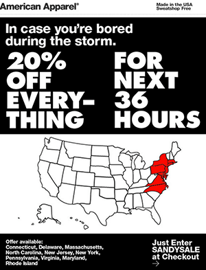 American Apparel's poorly recieved Hurricane Sandy Sale ad