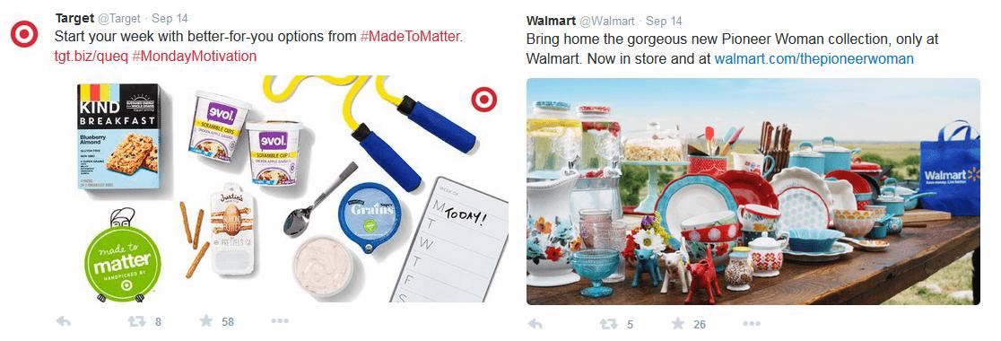Target tweets VS Walmart tweets