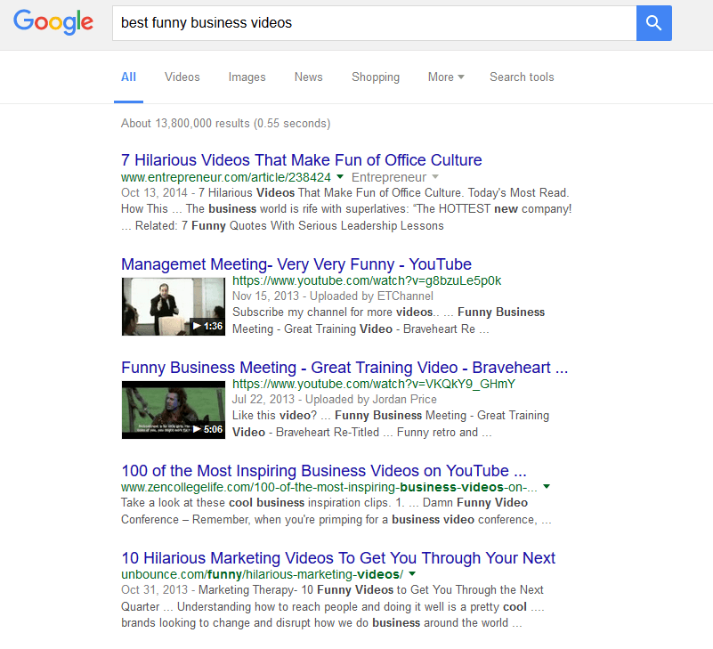 Your videos can make into the top of Google's search results!